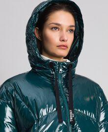 Doudoune courte matelassée en plumes véritables Vert Foncé Femme 192TP2500-03