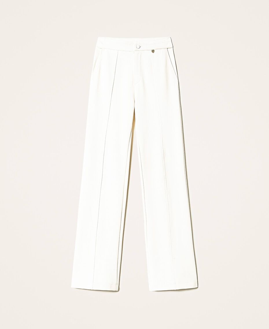Trousers with crêpe de Chine finishes Creamy White Woman 202MP2292-0S