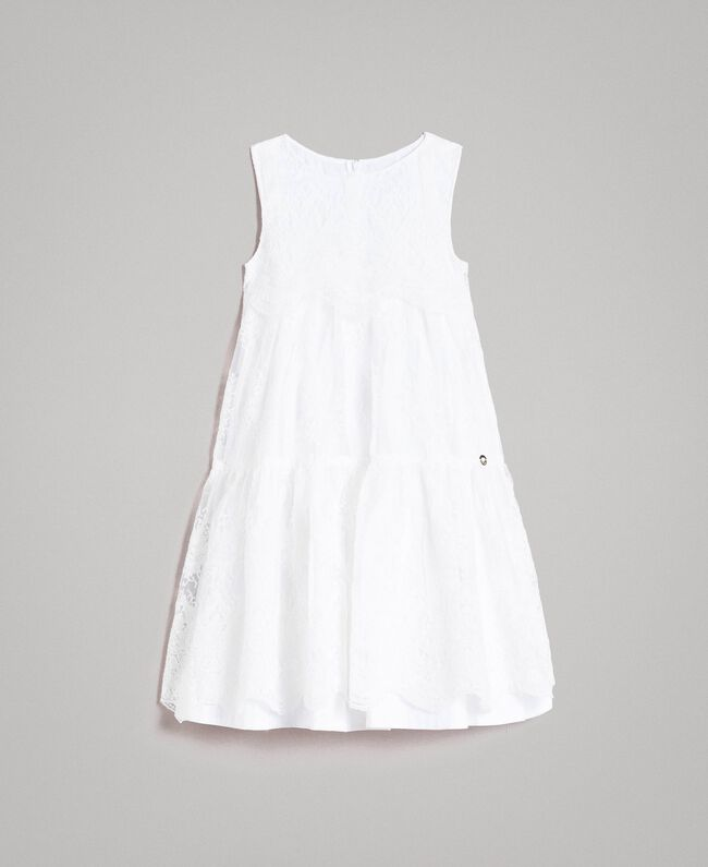 Embroidered organza and lace dress White Child 191GJ2QB1-01