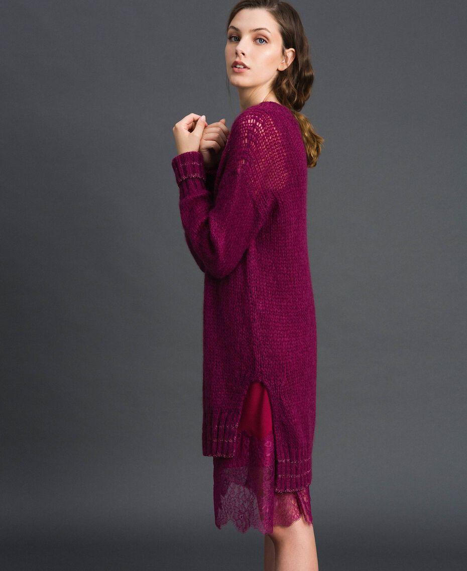 Kleid aus Mohair mit Lurexstreifen und Unterkleid Rote-Bete-Rot Frau 192TP3291-02