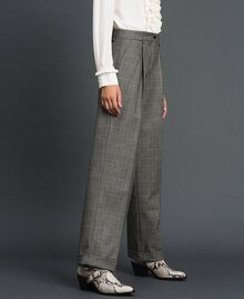 Pantaloni wide leg in principe di Galles Disegno Galles Grigio Scuro Lurex Donna 192TT244A-04