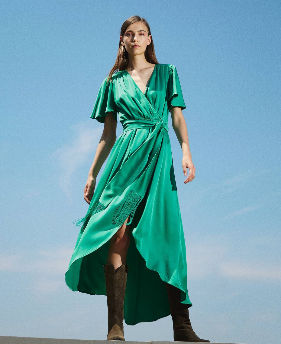 Long satin dress with draping Python Woman 202TP2620-02