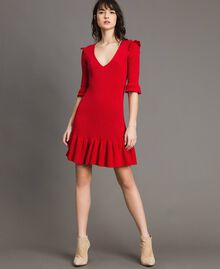 "Knit dress with ruffles ""Ruby"" Red Woman 191TP3271-02"