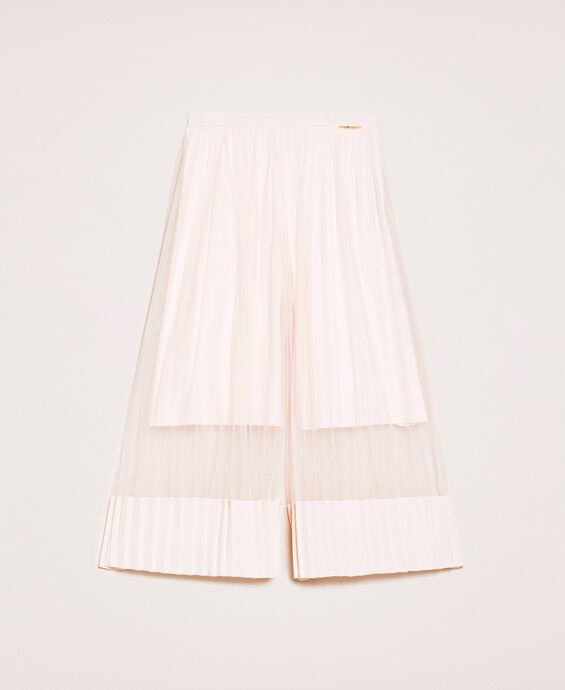 Pleated tulle and satin trousers