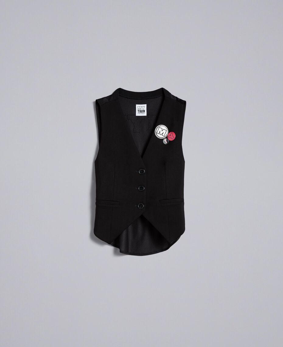 Gilet en point de Milan avec broches Noir Femme JA82NB-0S