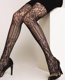 Collant avec mélange de dentelle et de filet Noir Femme 192TA4329-0S