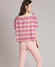 """Bluse mit Lurexstreifen und Schleifchen Streifen Multicolour Pink / """"Tangerine Cream"""" Pink Frau 191LB2AKK-03"""