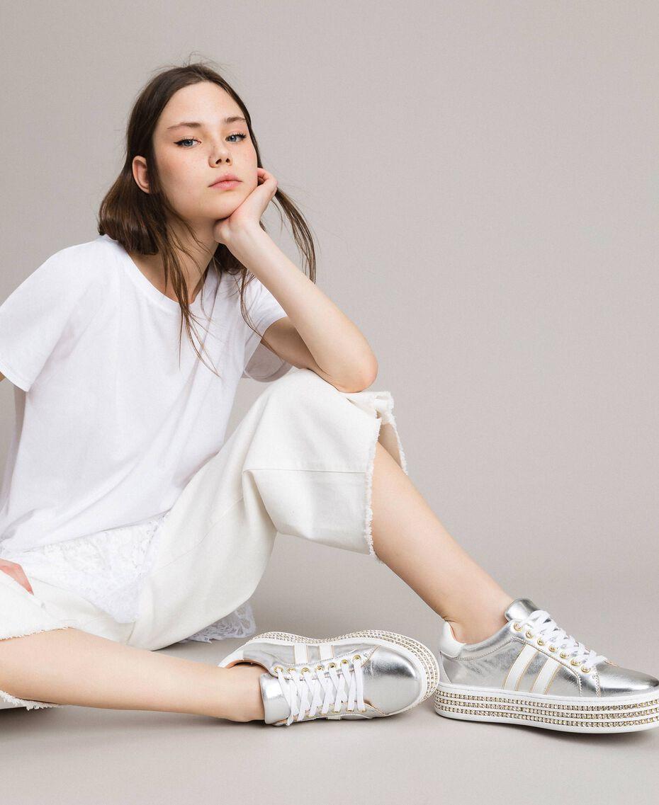 Leder-Sneakers mit Strasssteinen Silber Frau 191TCP170-0S