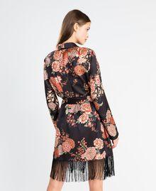 Vestaglia in twill stampata a fiori Stampa Nero Fiore Donna LA8KRR-03