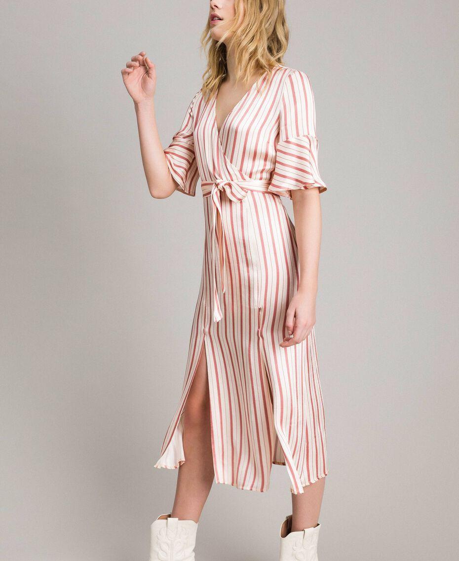 Striped satin wrap dress Pearl Pink Striping Woman 191TP2459-02