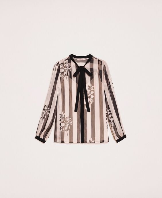 Creponne shirt with stripes and flower print
