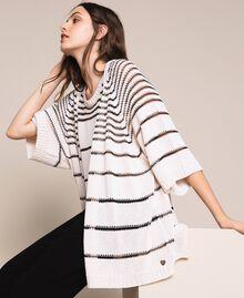 Maxi cardigan avec rayures contrastées Rayé Blanc Antique / Noir Femme 201TT3130-01