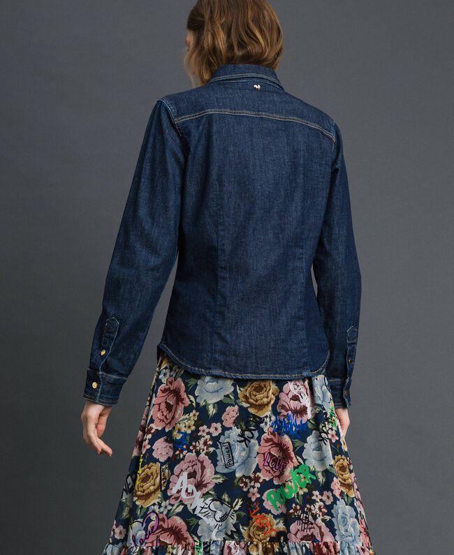 Джинсовая рубашка с брошами в стиле милитари Синий Деним женщина 192MP2342-03