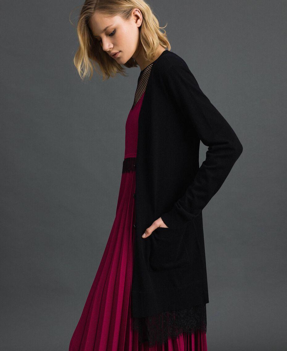 Maxi cardigan avec dentelle Noir Femme 192TP3171-01
