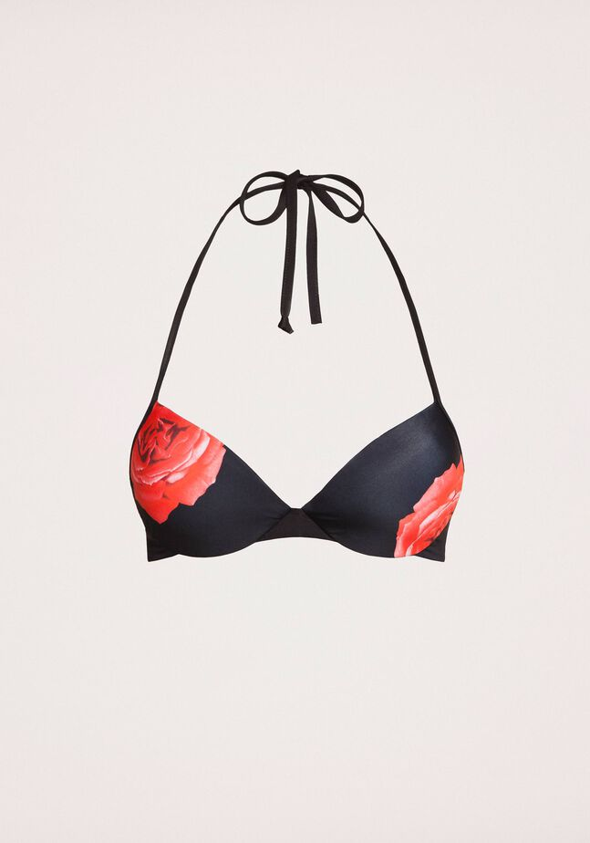 Push-up bikini top with print