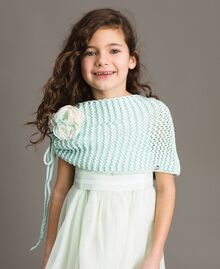 "Knitted shrug with flower Blue Clear ""Water"" Child 191GJ4QL0-0S"