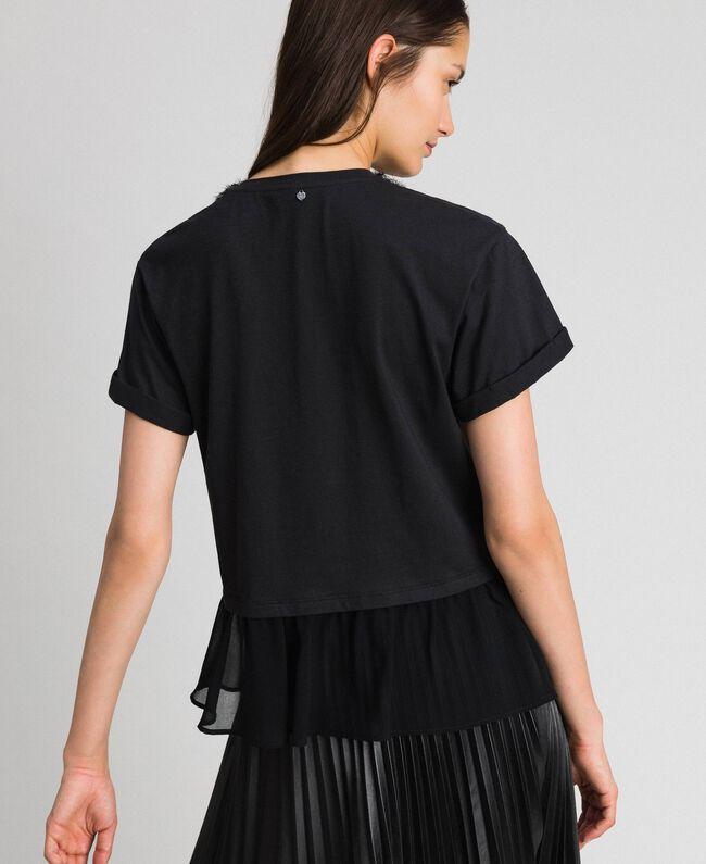T-shirt avec col bijou parsemé de perles Noir Femme 192TT2562-03
