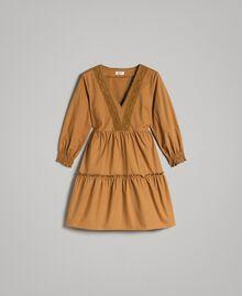 """Robe en popeline avec insertions en dentelle Beige """"Savane"""" Femme 191ST2046-0S"""