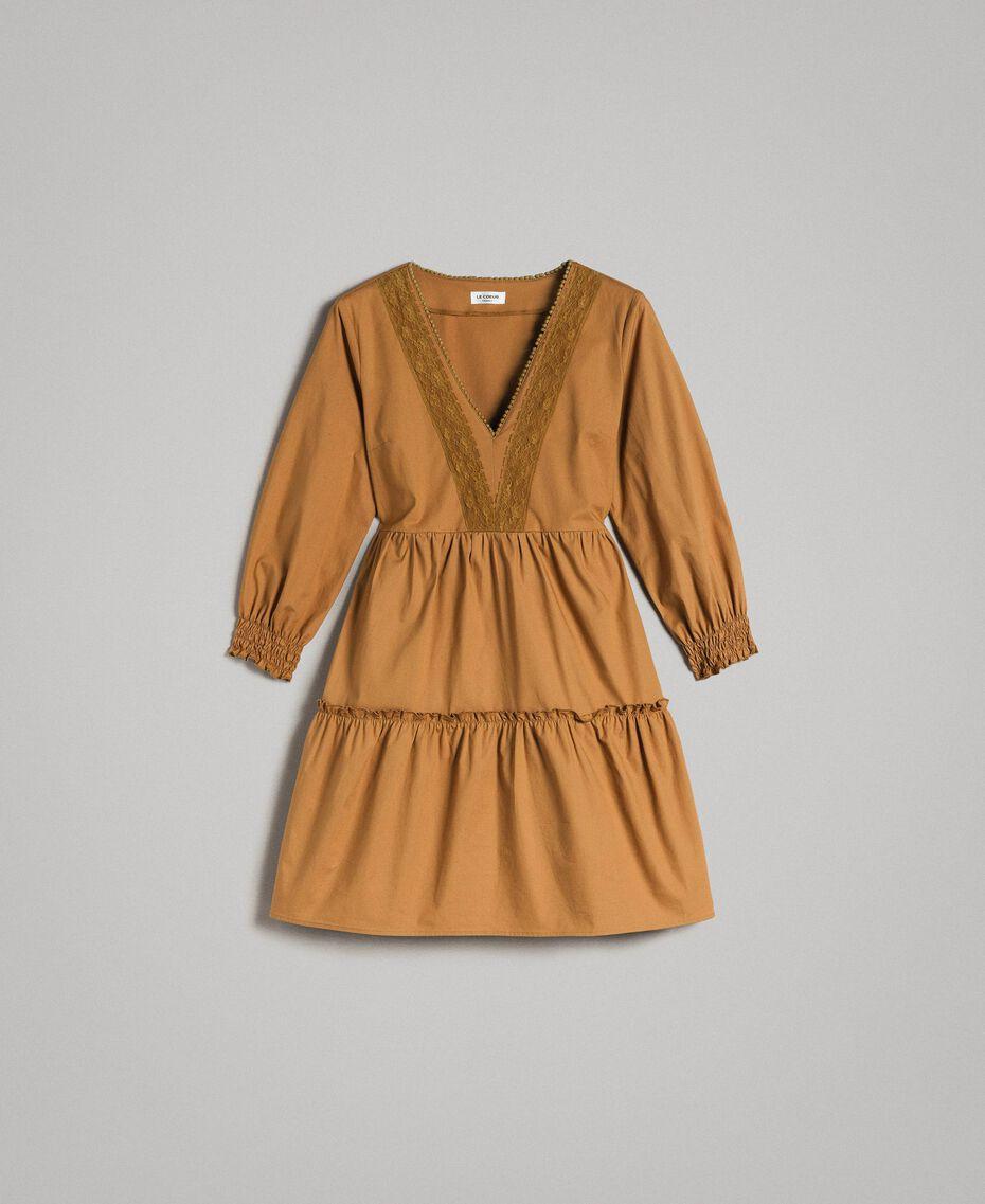 """Popeline-Kleid mit Spitzeneinsätzen """"Savannah"""" Beige Frau 191ST2046-0S"""
