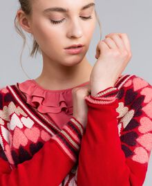 """Jumper with jacquard hearts """"Poppy"""" Red Heart Jacquard Woman PA837N-04"""