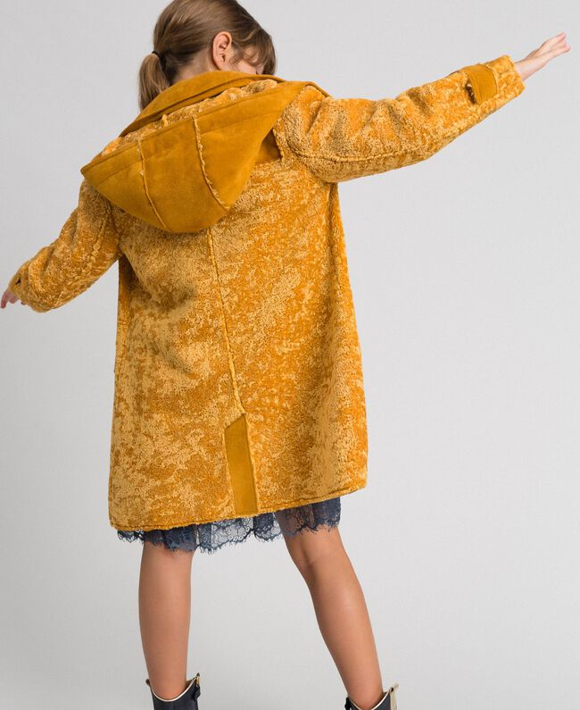 Faux shearling coat with hood Ochre Yellow Child 192GJ2180-04