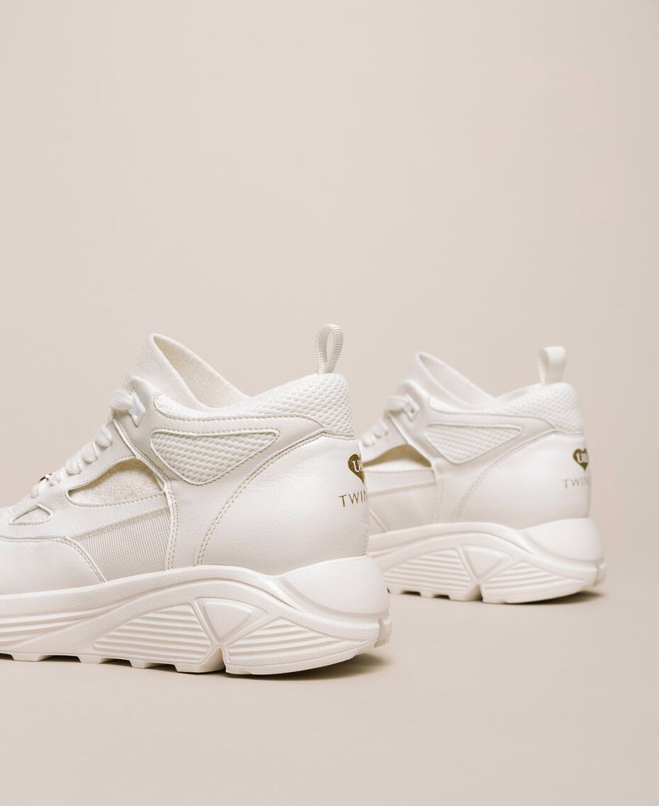 Sneakers aus Lederimitat und Gestrick Elfenbein Frau 201LLPZBB-02