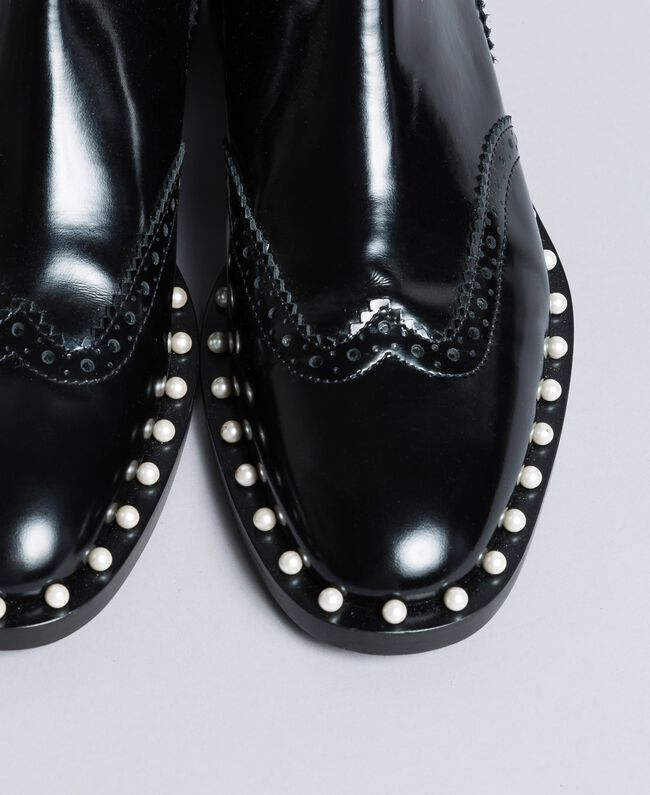 Кожаные ботинки-челси с жемчужинами Черный женщина CA8PKN-03