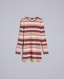 Minikleid aus Lurex mit Streifen Mehrfarbig Rosa / Bordeaux Frau PA832P-0S