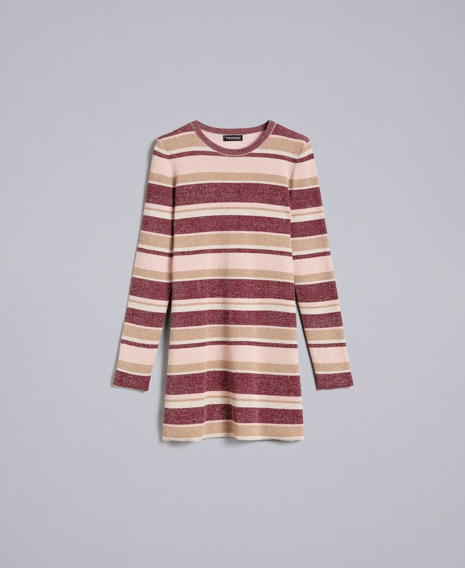 Striped lurex mini dress Multicolour Pink / Burgundy Woman PA832P-0S