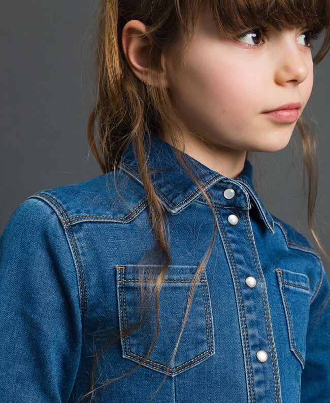 Denim effect shirt dress Mid Denim Child 192GJ2510-04