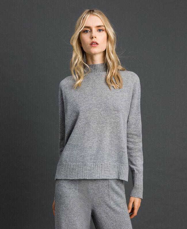 Pull en laine et cachemire Gris Mélangé Femme 192TT3025-01
