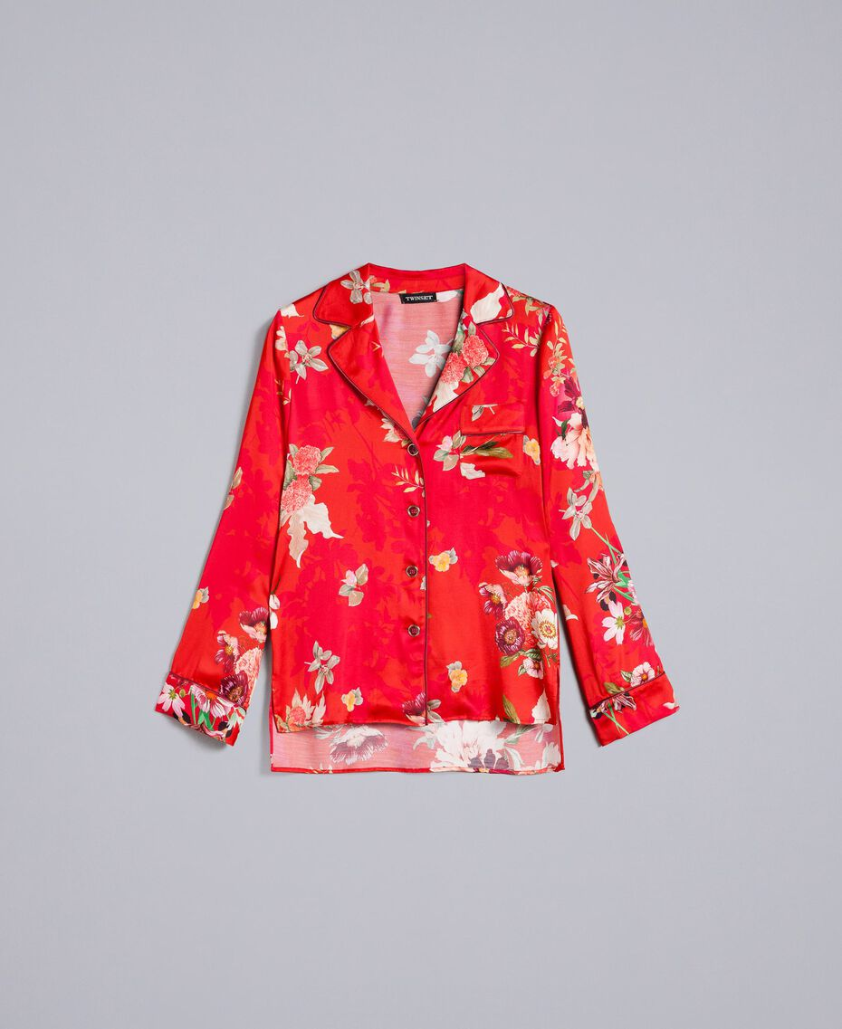 Floral print satin shirt Red Garden Print Woman PA829R-0S