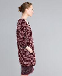 Maxi cardigan jacquard lurex Jacquard Bordeaux Lurex Donna PA835A-02