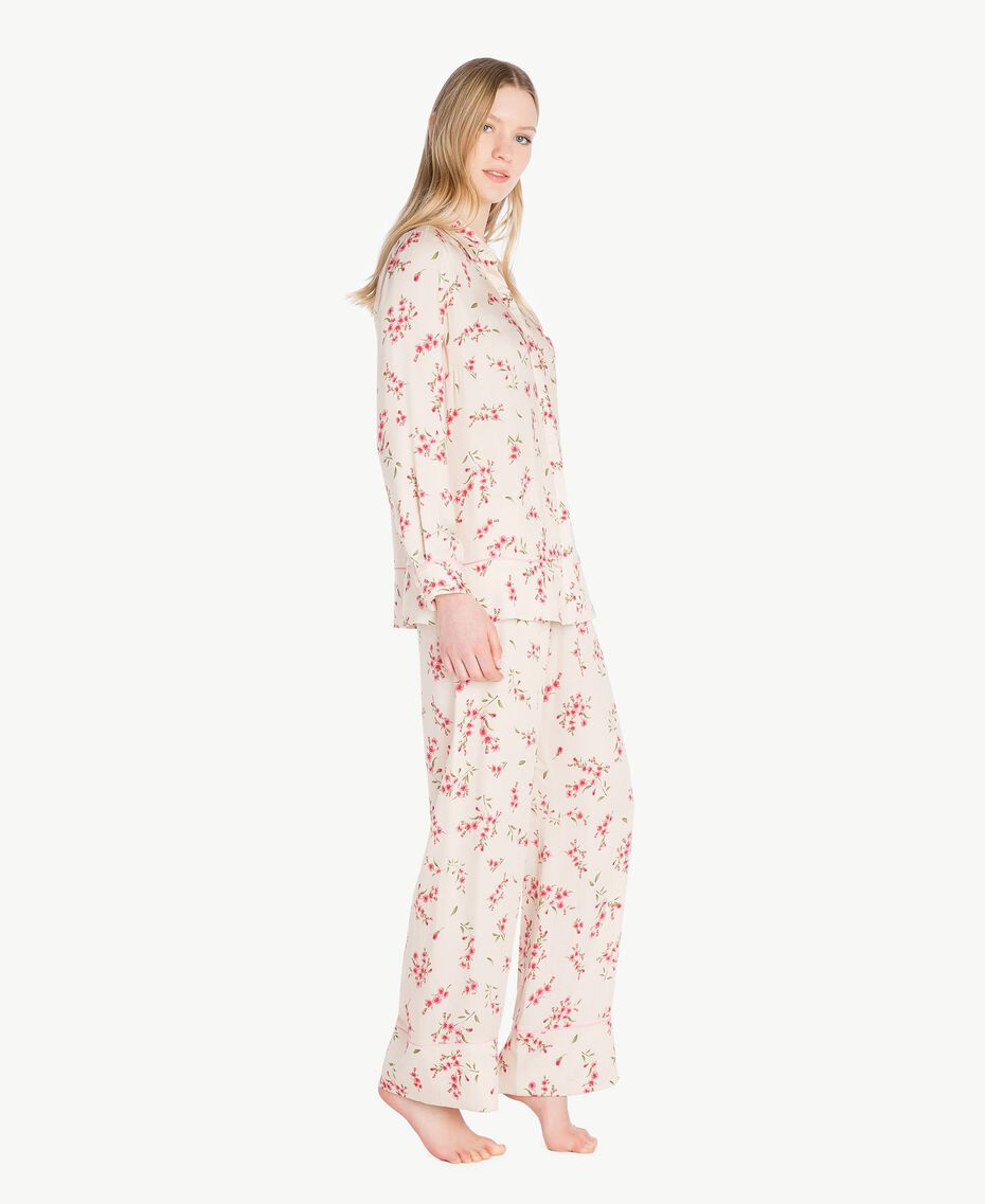 "Satin pyjamas ""Peach Powder"" Pink Microflower Print Woman LS8BFF-03"