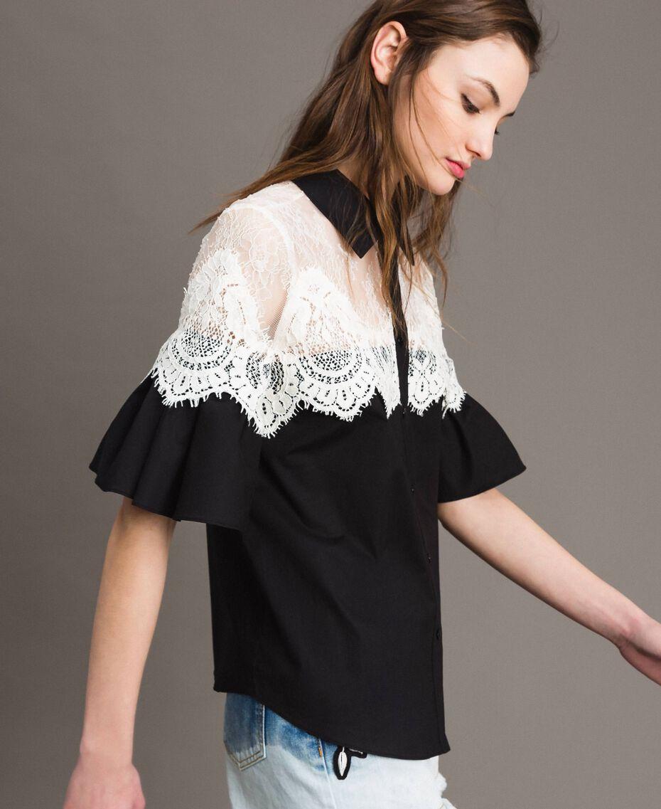 Poplin shirt with lace inlays Black Woman 191TT2120-02