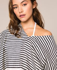 Jacquard poncho with stripes and fringes Ivory / Black Woman 201LM4ZCC-04