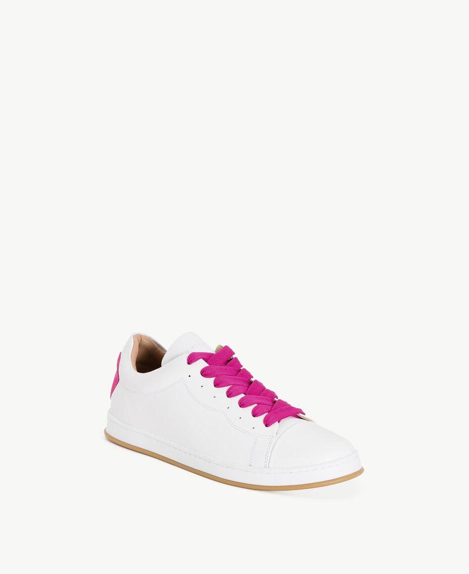 TWINSET Baskets cœur Bicolore Blanc Optique / Rose «Hortensia» Femme CS8PJJ-02