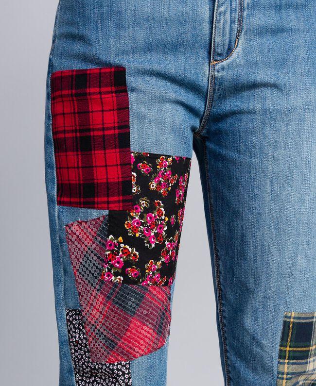 Girlfriend denim jeans with patches Denim Blue Woman YA82XA-04