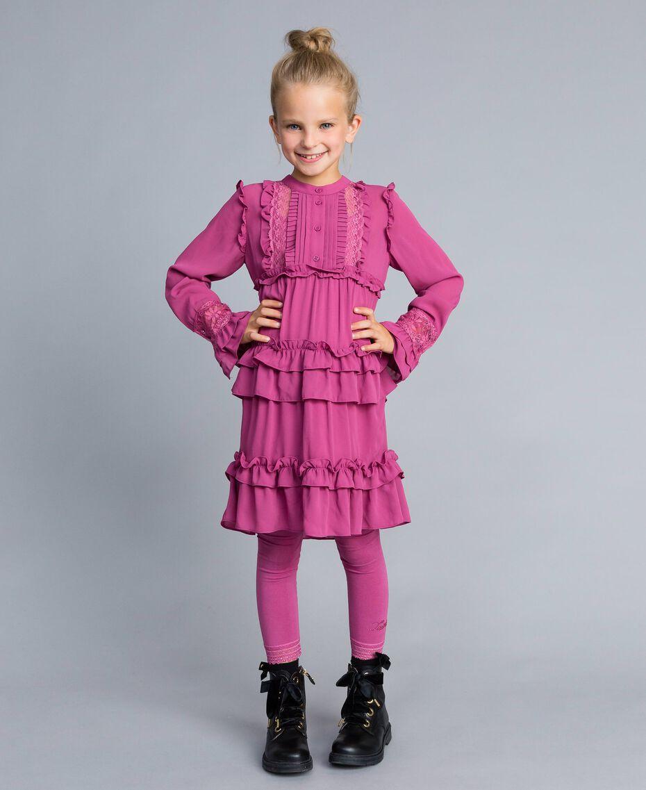 Georgette flounced dress Pink Bouganville Child GA82HA-0T