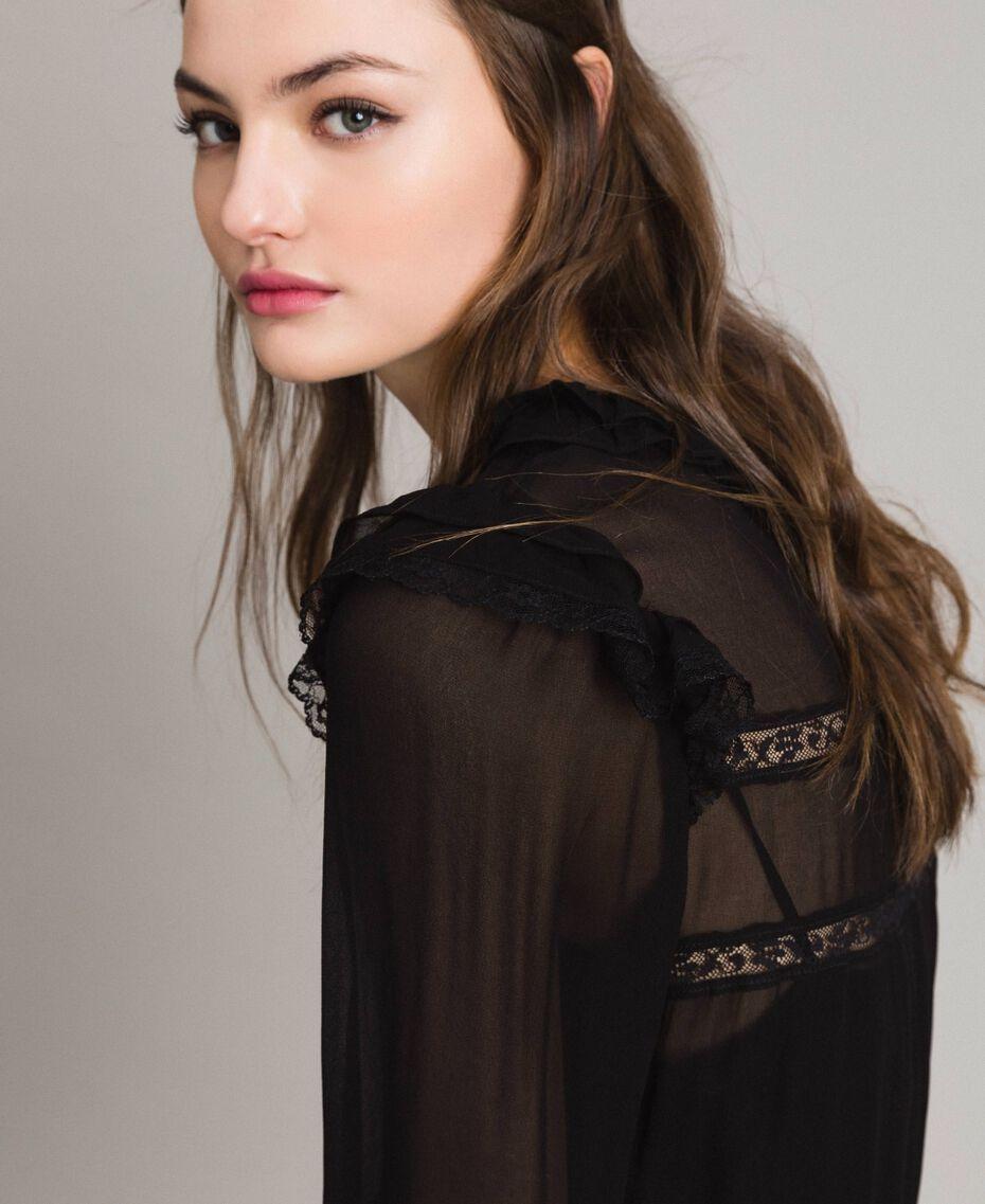 Robe en crêpe georgette et dentelle Noir Femme 191TP2127-05