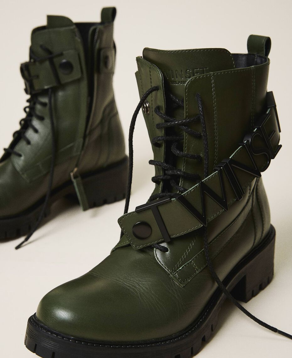 Combat boots with lettering logo Dark Olive Green Woman 202TCP03G-03
