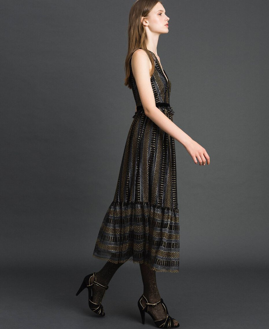 Кружевное платье-миди с люрексом Черный женщина 192TT2361-02