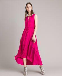 """Robe longue en crêpe de Chine Fuschia """"Rose Psychédélique"""" Femme 191LB2LAA-01"""