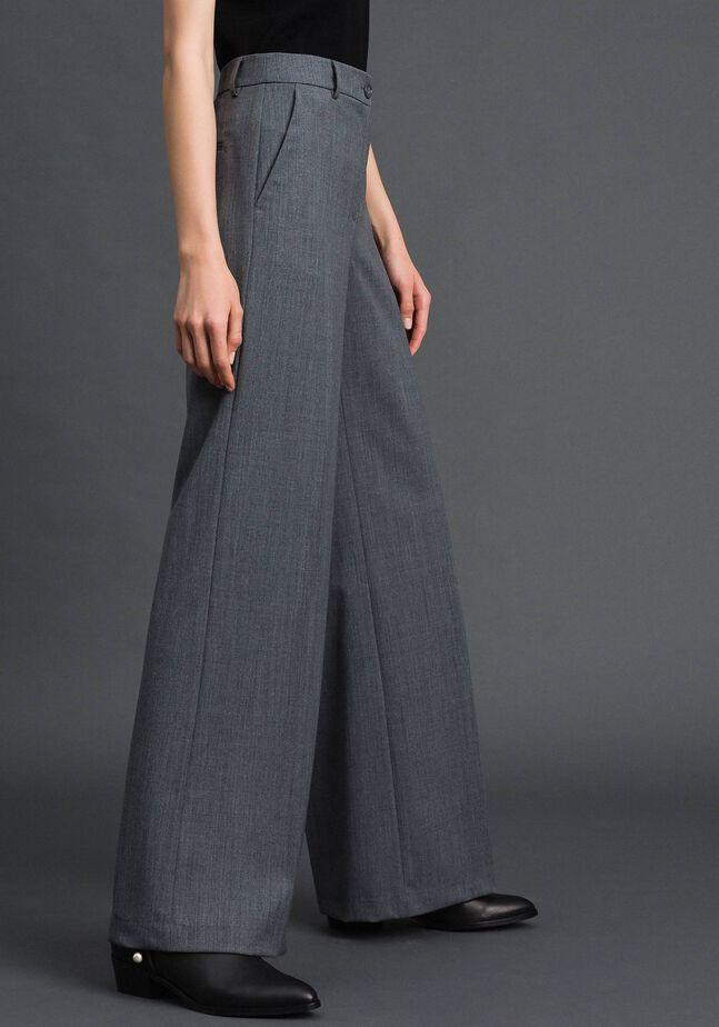 Свободные прямые брюки из технической шерсти