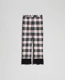 "Flared trousers in chequered wool ""Snow"" White Tartan Jacquard Woman 192TP2622-0S"