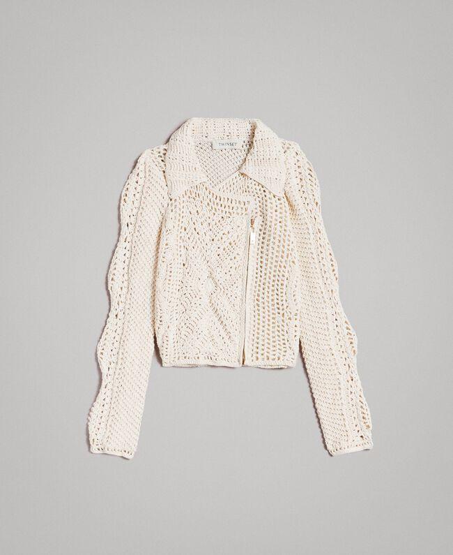 Crochet knitted biker jacket Pale Cream Child 191GJ3QK0-01