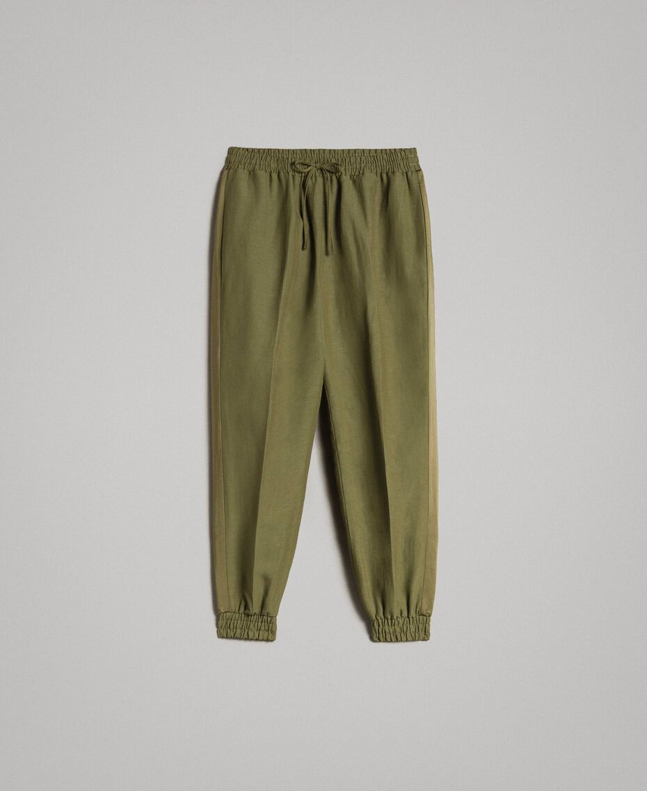 "Pantalon de jogging en lin Vert ""Olive"" Femme 191TT230B-0S"