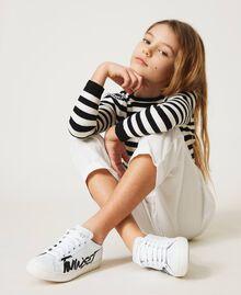 Sneakers aus Leder mit Logo Mattweiß Kind 211GCJ050-0S