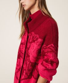 Floral jacquard knit coat Shocking Pink / Cherry Red Jacquard Woman 202TP340A-04
