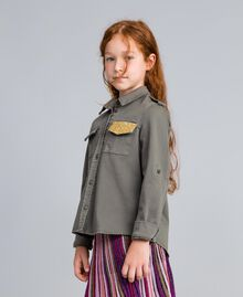Cotton shirt with glitter Olive Child GA827Q-02